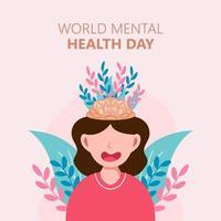 pôster desenhado à mão do dia mundial da saúde mental vetor