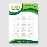 design de calendário 2021 verde vetor