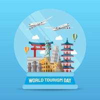 mão ilustrações desenhadas do conceito do dia mundial do turismo. ilustração vetorial
