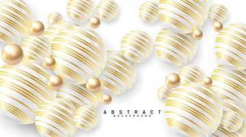 fundo abstrato com campos 3d. bolhas douradas e brancas. ilustração em vetor de uma esfera texturizada com um padrão de linha de ouro.