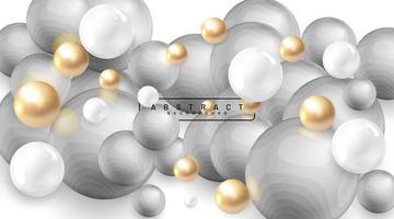 fundo abstrato com campos 3d. bolhas douradas e brancas. ilustração em vetor de uma esfera texturizada com ondas cinza. desenho sobreposto