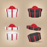 caixas de presente hexágono preto e branco com o laço vermelho. vetor