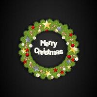 Feliz Natal redonda coroa de flores com estrelas e doces. ilustração vetorial com fundo preto