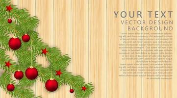 enfeites de vetor de feliz Natal com bolas vermelhas, doces, estrelas e folhas. textura de madeira de fundo. ilustração vetorial