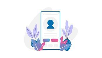aplicativo móvel da página de perfil do influenciador vetor