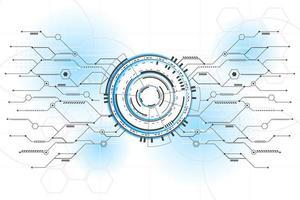 ilustração e vetor abstrato futurista de circuito de linha de conexão
