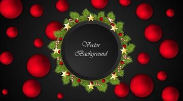 fundo do vetor do Natal. círculo preto para texto. coroa de flores com bolas vermelhas, doces, estrelas.