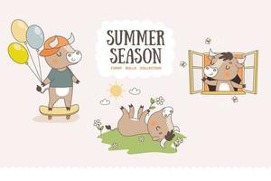 coleção de touros bonito dos desenhos animados. adesivos de personagens da temporada de verão. vetor