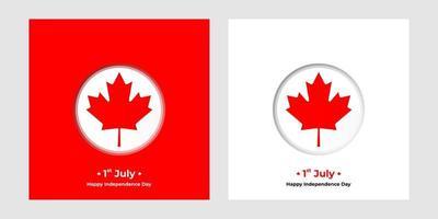 1 de julho, dia da independência dos banners quadrados do Canadá vetor
