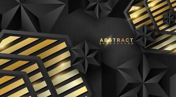 fundo geométrico abstrato. Ilustração em vetor 3D. forma de triângulo ou pirâmide preta. hexágonos com um padrão de listras douradas.
