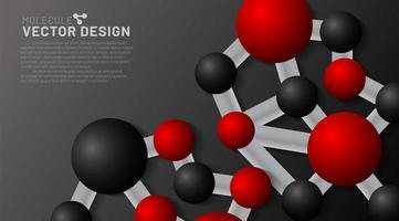 moléculas vermelhas e pretas com sombras em um fundo escuro. Ilustração 3D de círculos conectados em eps 10 vetor