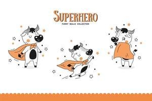 coleção de super-heróis de touros dos desenhos animados. vetor