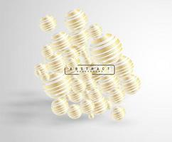 fundo abstrato com bolas 3d sobrepostas. ilustração em vetor de uma esfera texturizada com um padrão de linha de ouro.