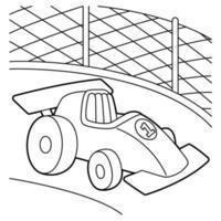 página para colorir de carro de corrida vetor