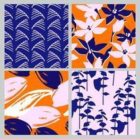 conjunto artístico de padrões sem emenda com flores abstratas e folhas.