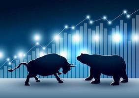 projeto de mercado de ações de touro e urso vetor