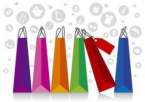 sacola de compras com design de ícones vetor