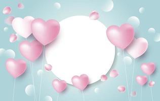 Projeto de conceito de banner de amor de balões de coração com pétalas de rosa caindo vetor