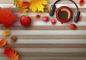 desenho de fundo de outono de xícara de café e fone de ouvido com folhas para o outono vetor