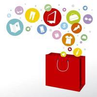 sacola de compras vermelha e ícones da moda