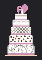 desenho de bolo de casamento em fundo preto vetor