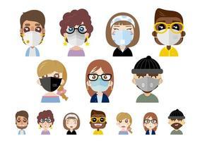 pessoas usando máscaras de poeira vetor