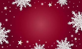 desenho de fundo de natal de flocos de neve brancos e estrelas