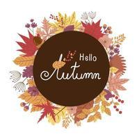 desenho de banner com moldura de folhas de outono vetor