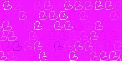 textura vector roxo claro com corações adoráveis.