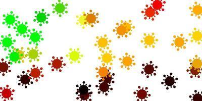 modelo de vetor verde e amarelo claro com sinais de gripe.