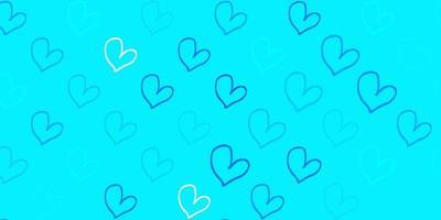 textura vector azul claro com corações adoráveis.