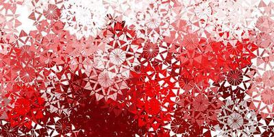 textura vector vermelho claro com flocos de neve brilhantes.