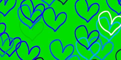 de fundo vector azul e verde claro com corações brilhantes.