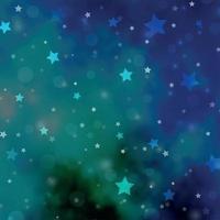 padrão de vetor azul claro e verde com círculos, estrelas