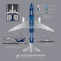 conjunto de avião com ilustração vetorial de mapa de assentos