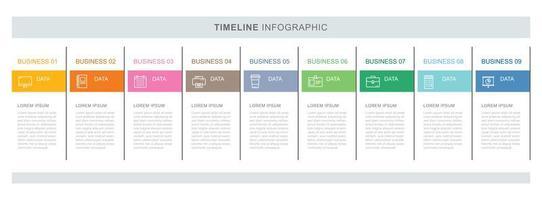 Modelo de infográficos de negócios de 9 dados com design de linha fina