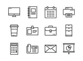 ícone do escritório definir estilo de contorno. símbolos para site, revista, aplicativo e design.