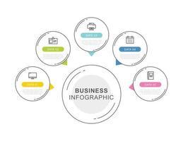 Modelo de infográficos de cronograma de dados de 5 círculos com design de linha fina. ilustração vetorial fundo abstrato. pode ser usado para layout de fluxo de trabalho, etapa de negócios, banner, design de web.