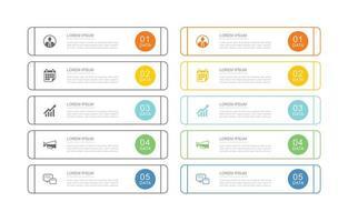 Modelo de infográficos de negócios de 10 dados com design de linha fina