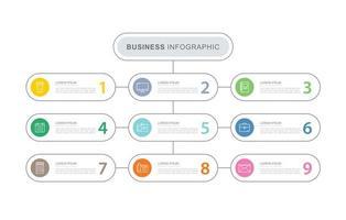 Modelo de infográficos de negócios de 9 dados com design de linha fina vetor