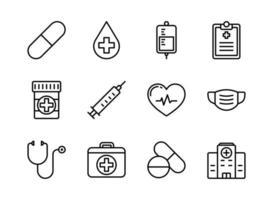 ícone de medicina e saúde definir estilo de contorno vetor