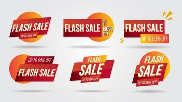 banner de coleção de etiqueta de desconto de venda flash e cantos de ícones vetor