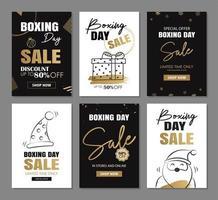 desenho de banner de venda de boxing day com modelos de decoração de ouro
