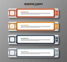 modelo de elementos infográfico colorido, conceito de negócio com 4 opções vetor