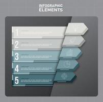 modelo de elementos de infográfico em tons de cinza, conceito de negócio com 5 opções vetor