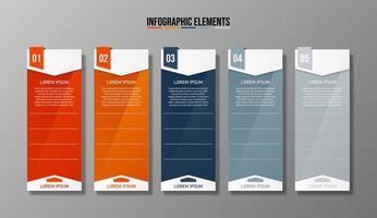 Infográfico de negócios - banner de modelo de 5 etapas vetor