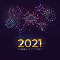 feliz ano novo de 2021 com fogos de artifício e fundo de celebração vetor
