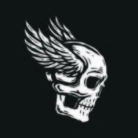cabeça de caveira com asas vetor