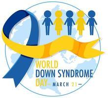 síndrome de down do mundo em 21 de março com sinal de fita amarela - azul vetor