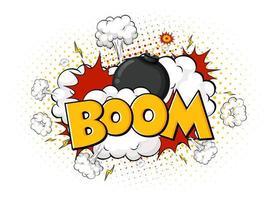 balão de fala em quadrinhos com texto boom vetor